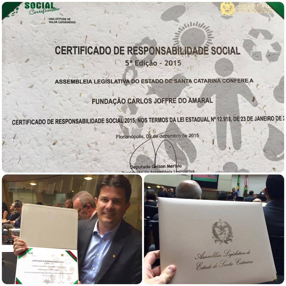 Fundação Carlos Joffre recebe certificado de responsabilidade social da ALESC