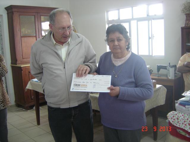 Fraternidade São José do Patrocínio recebeu dia 23 de setembro a doação de R$ 1.500,00 da FCJ/SENAI- Lages.